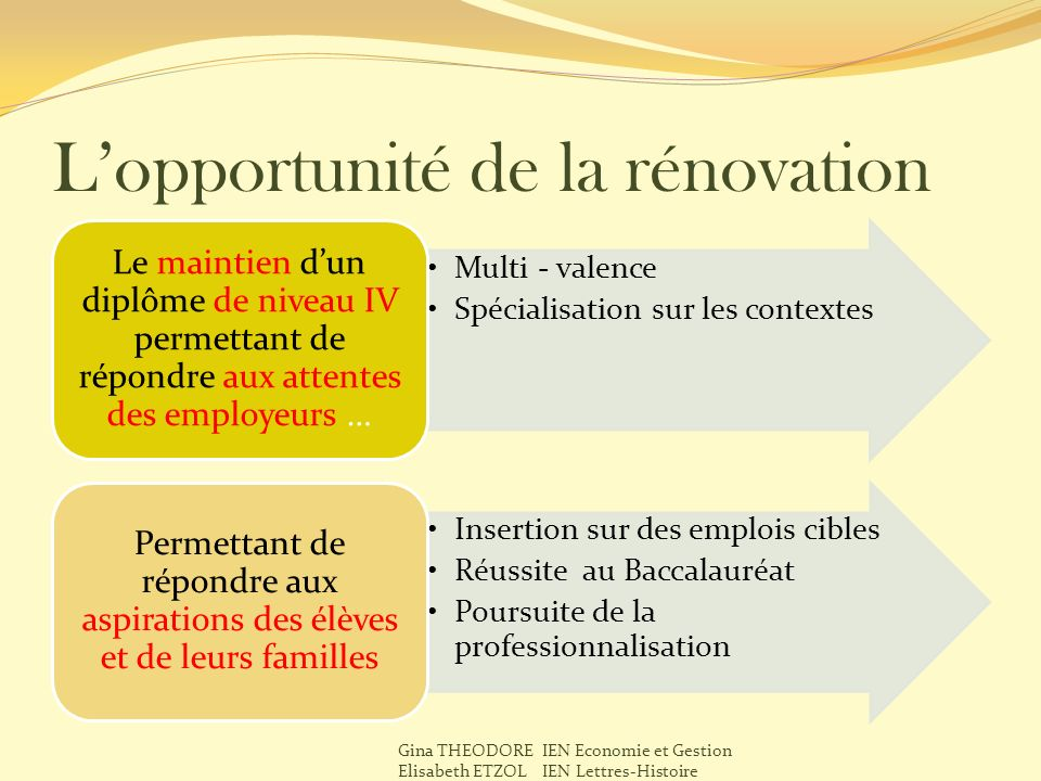 L'opportunité de la rénovation
