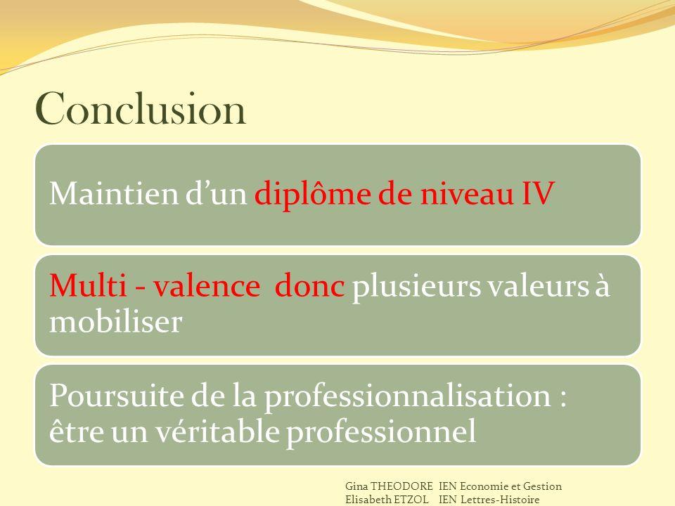 Conclusion Maintien d'un diplôme de niveau IV
