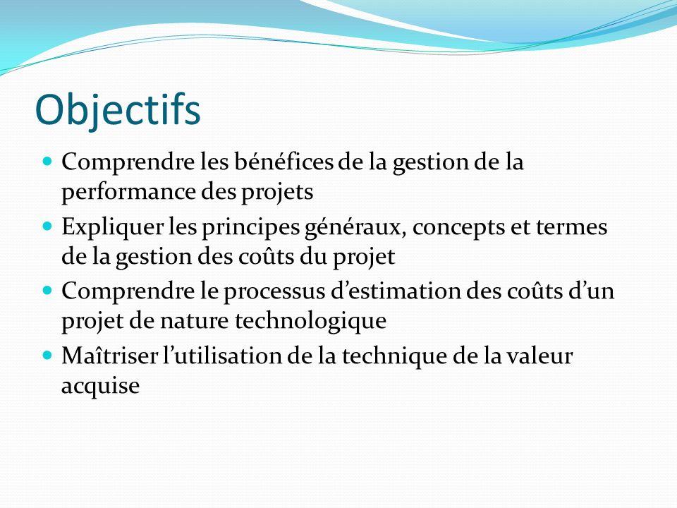 Objectifs Comprendre les bénéfices de la gestion de la performance des projets.