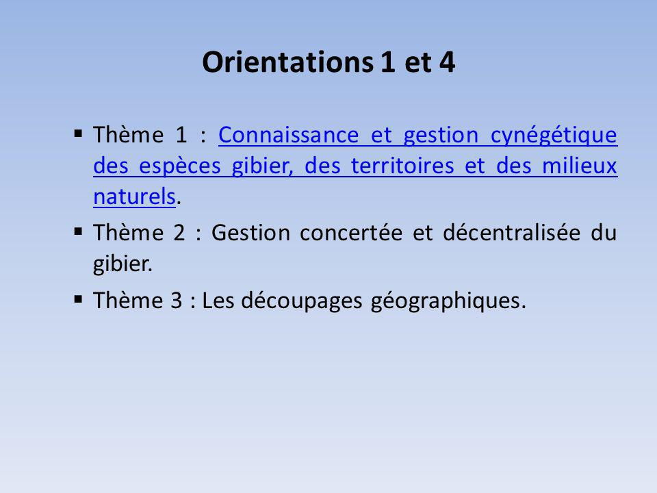 Orientations 1 et 4 Thème 1 : Connaissance et gestion cynégétique des espèces gibier, des territoires et des milieux naturels.