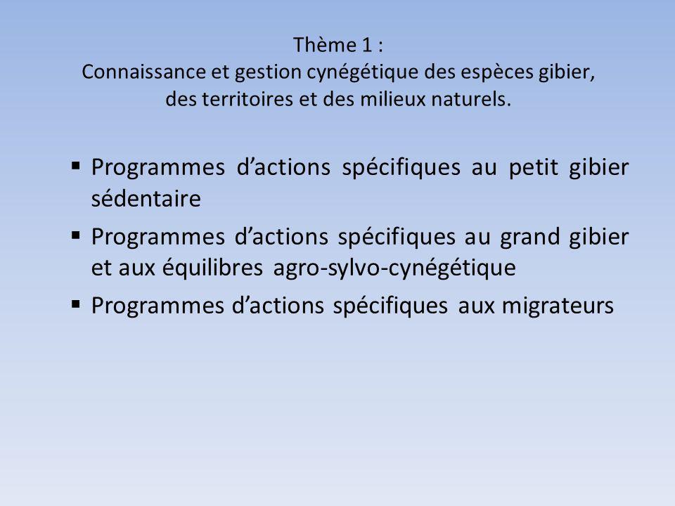 Programmes d'actions spécifiques au petit gibier sédentaire