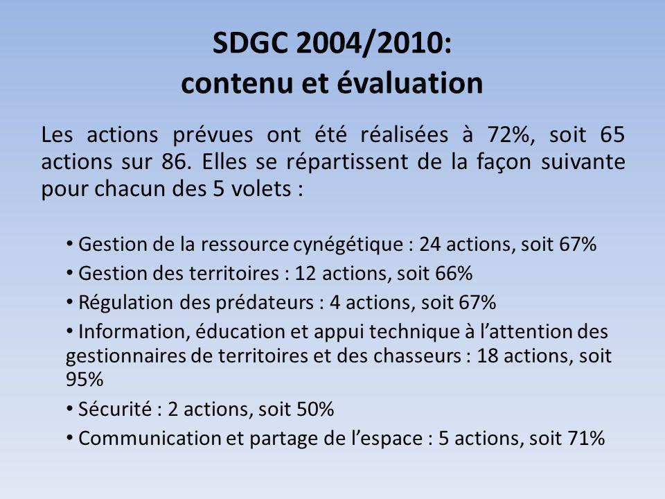 SDGC 2004/2010: contenu et évaluation