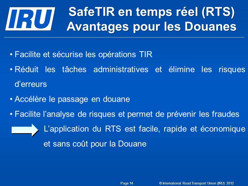 SafeTIR en temps réel (RTS) Avantages pour les Douanes