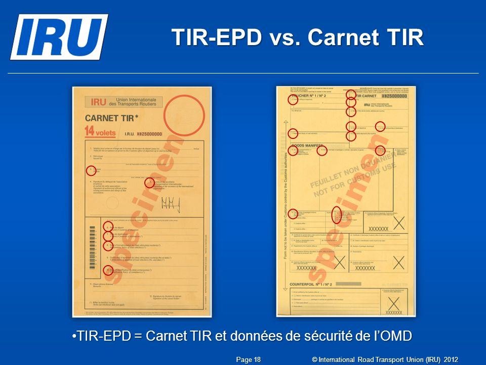 TIR-EPD = Carnet TIR et données de sécurité de l'OMD