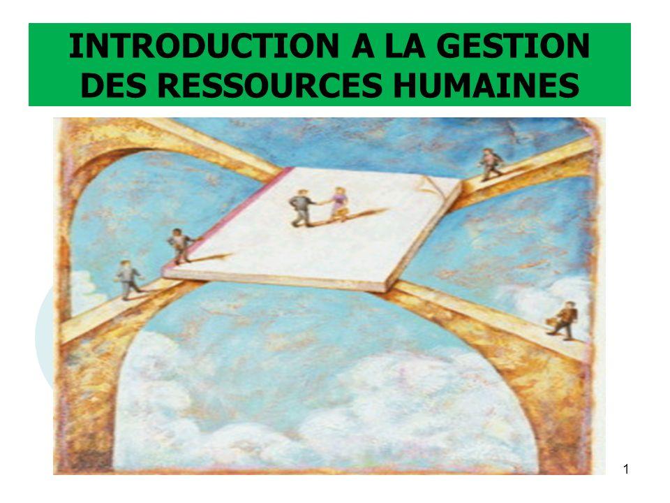 INTRODUCTION A LA GESTION DES RESSOURCES HUMAINES