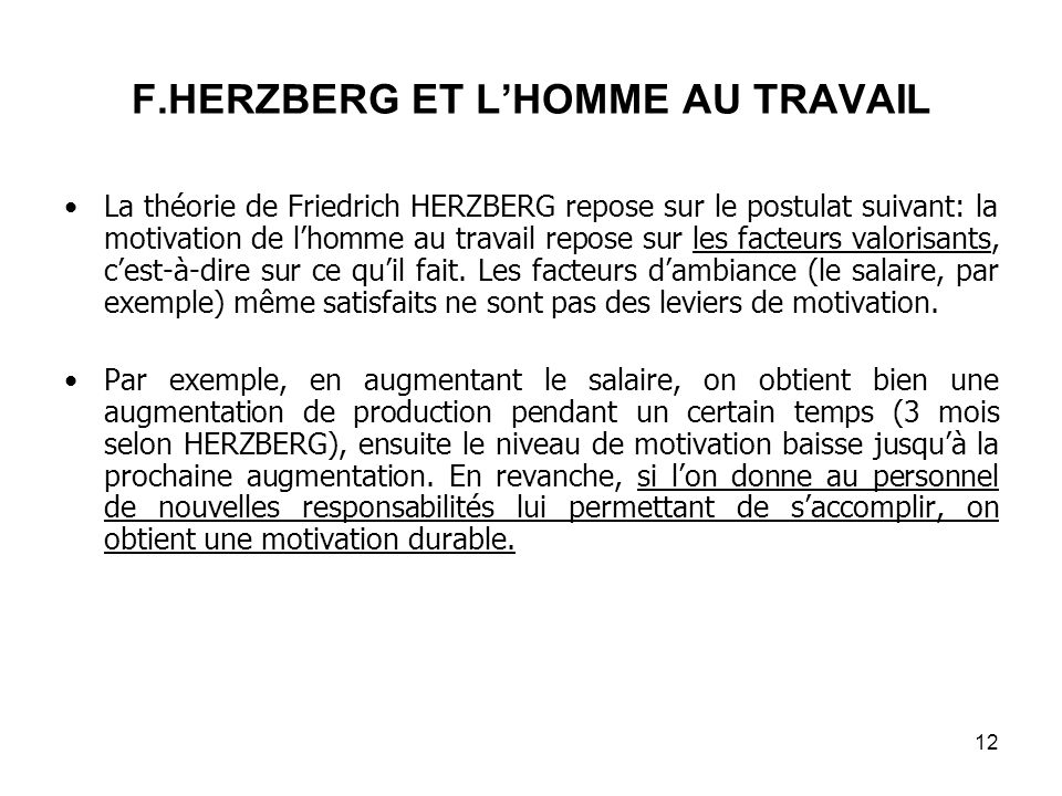 F.HERZBERG ET L'HOMME AU TRAVAIL