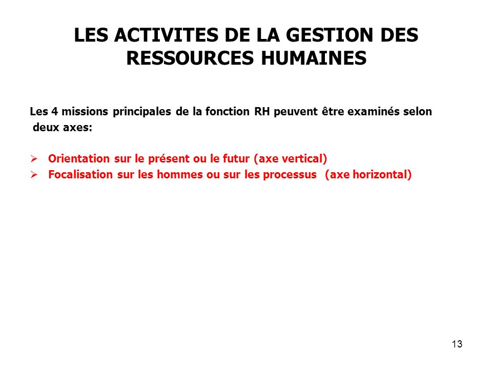 LES ACTIVITES DE LA GESTION DES RESSOURCES HUMAINES