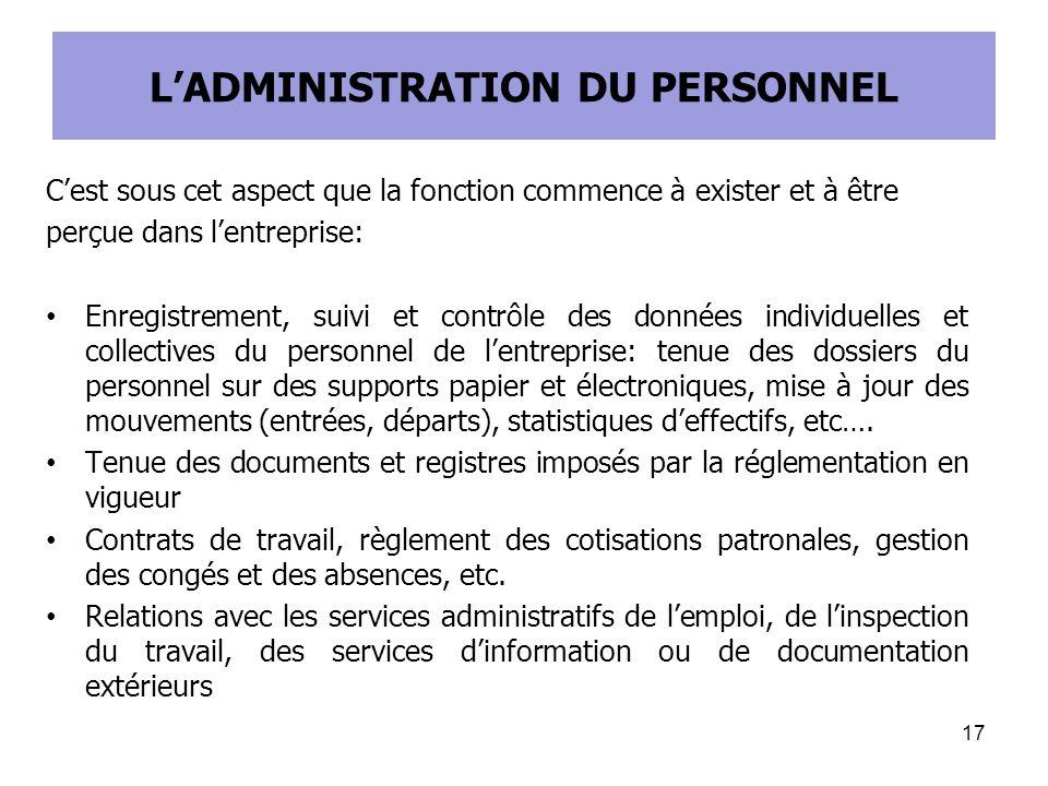 L'ADMINISTRATION DU PERSONNEL