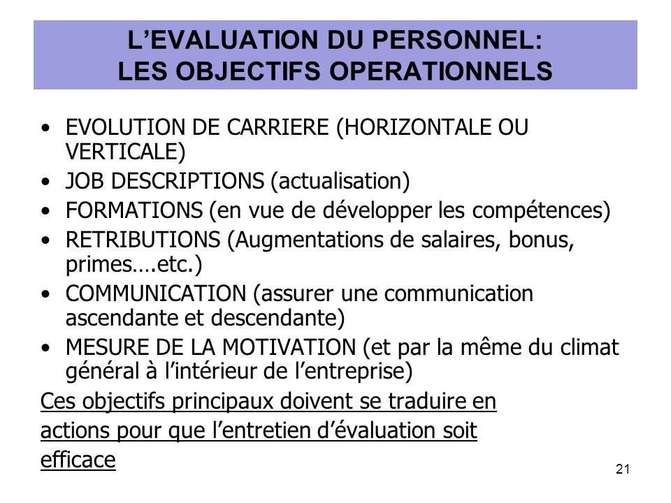 L'EVALUATION DU PERSONNEL: LES OBJECTIFS OPERATIONNELS