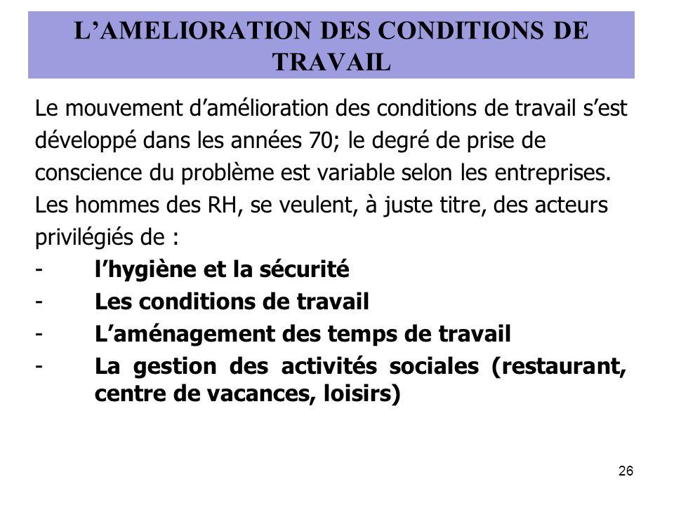 L'AMELIORATION DES CONDITIONS DE TRAVAIL