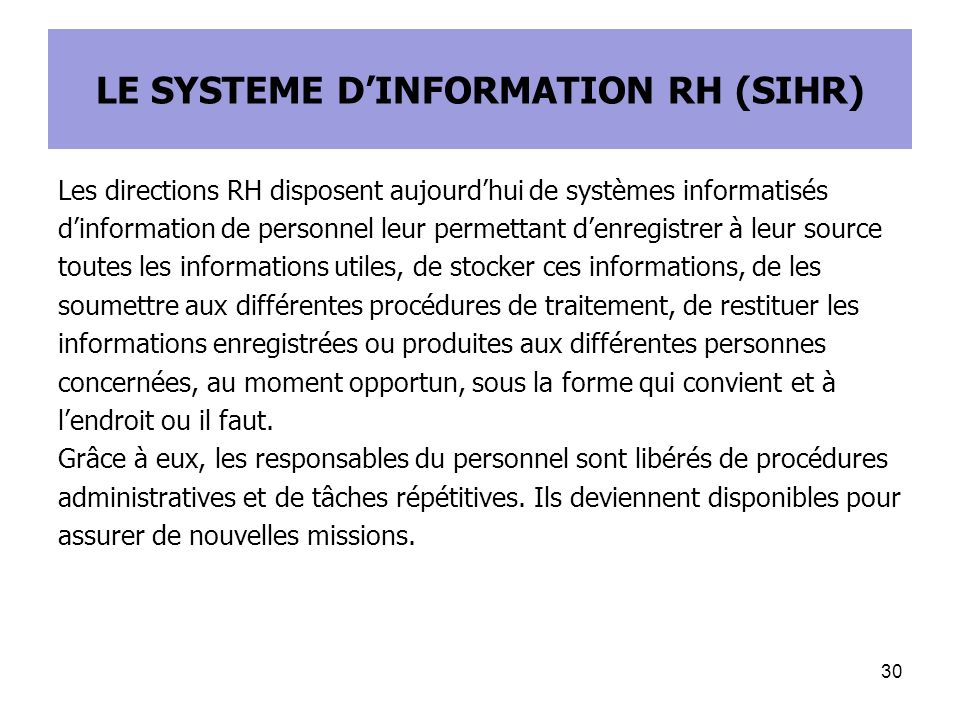 LE SYSTEME D'INFORMATION RH (SIHR)