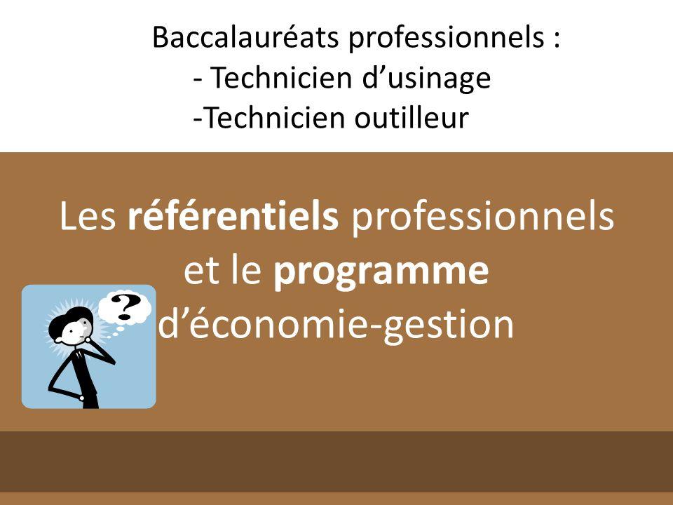 Les référentiels professionnels et le programme d'économie-gestion
