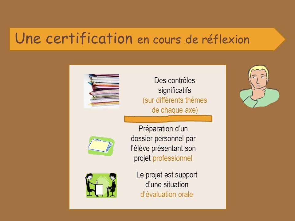 Une certification en cours de réflexion