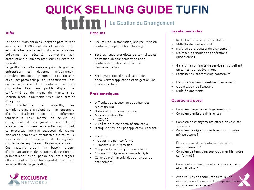 QUICK SELLING GUIDE TUFIN