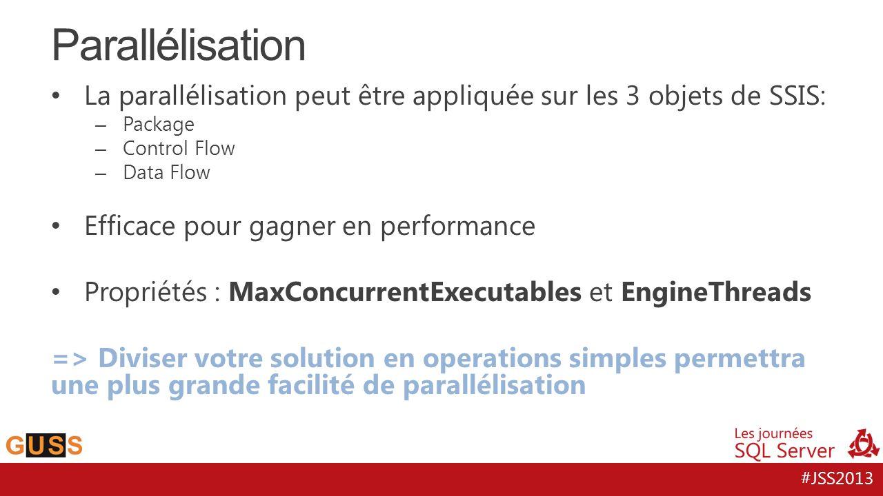 Parallélisation La parallélisation peut être appliquée sur les 3 objets de SSIS: Package. Control Flow.