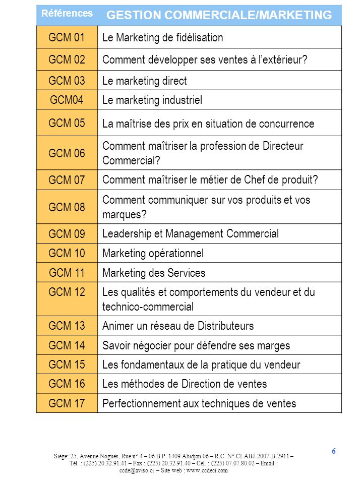GESTION COMMERCIALE/MARKETING