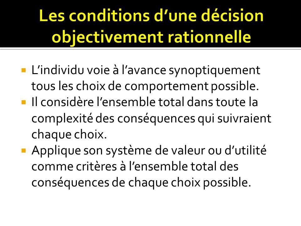 Les conditions d'une décision objectivement rationnelle