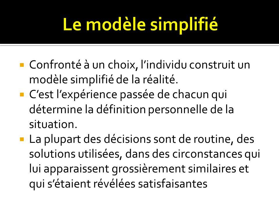 Le modèle simplifié Confronté à un choix, l'individu construit un modèle simplifié de la réalité.