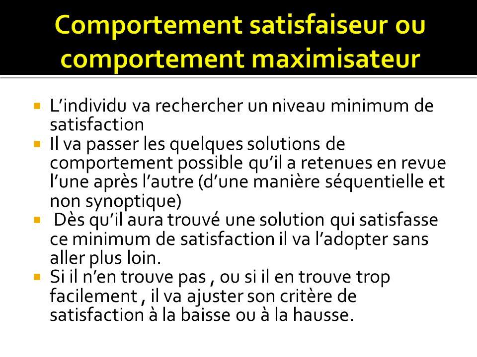 Comportement satisfaiseur ou comportement maximisateur