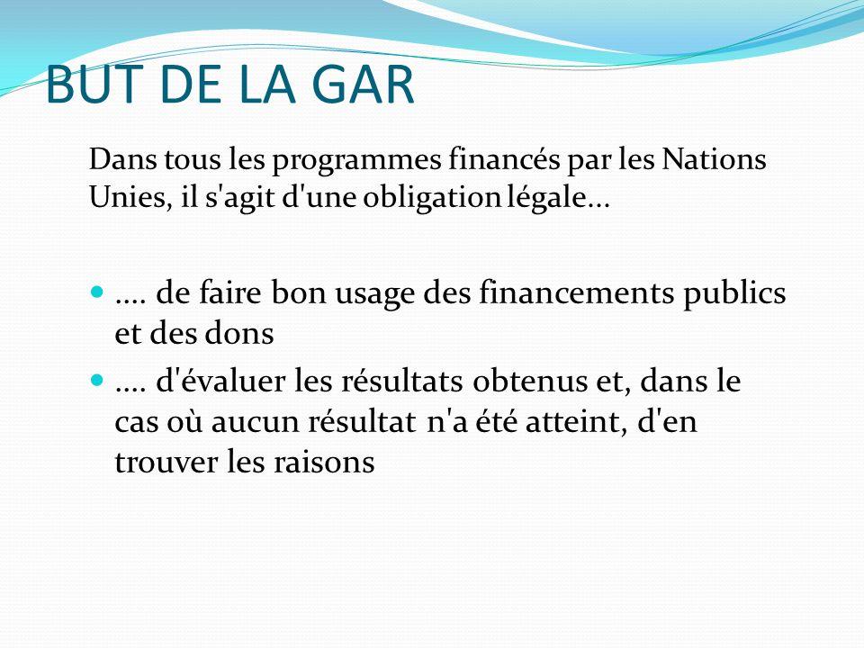 BUT DE LA GAR Dans tous les programmes financés par les Nations Unies, il s agit d une obligation légale...