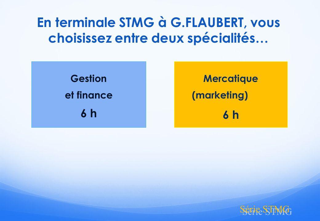 En terminale STMG à G.FLAUBERT, vous choisissez entre deux spécialités…
