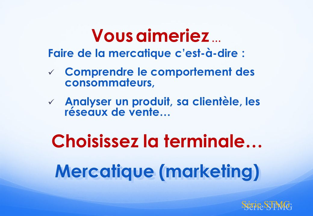 Choisissez la terminale… Mercatique (marketing)
