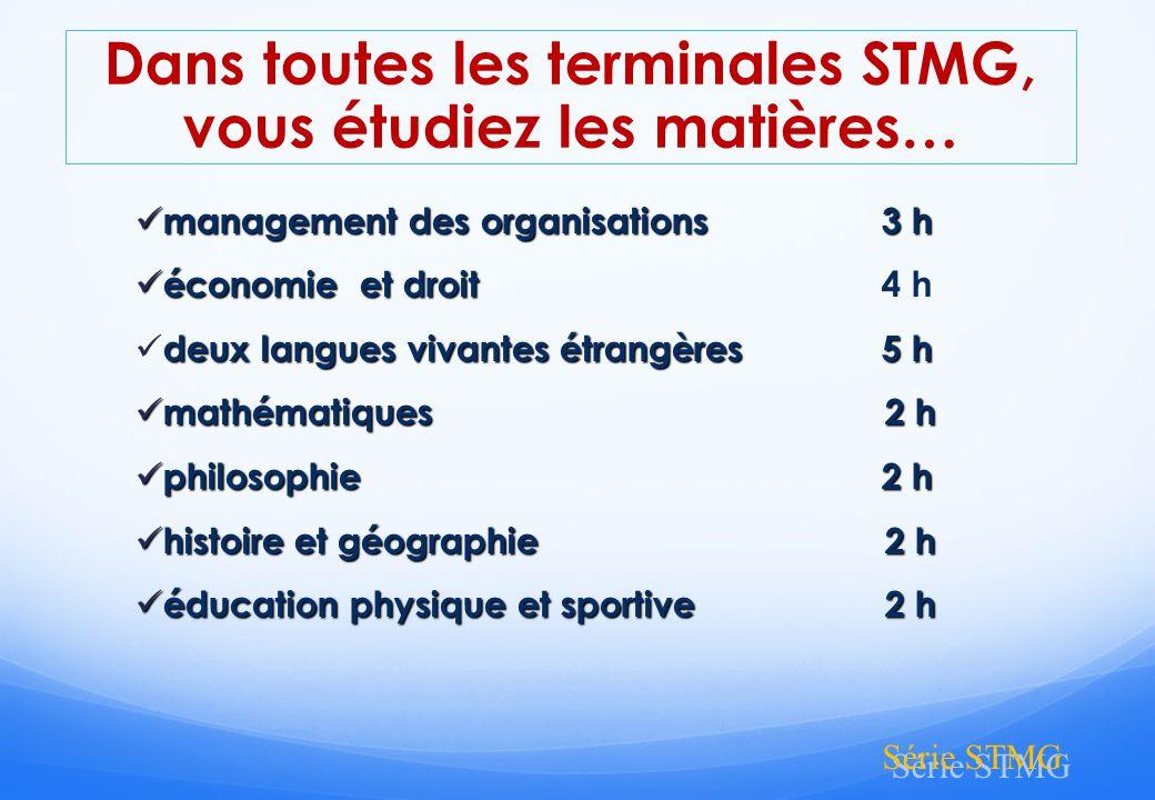 Dans toutes les terminales STMG, vous étudiez les matières…