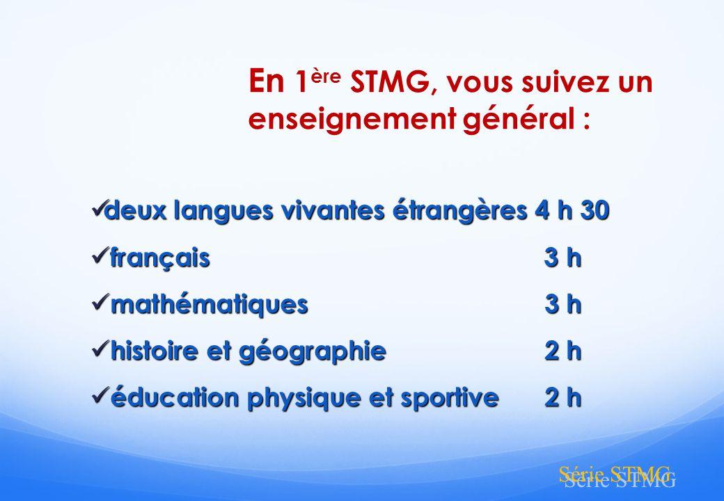 En 1ère STMG, vous suivez un enseignement général :