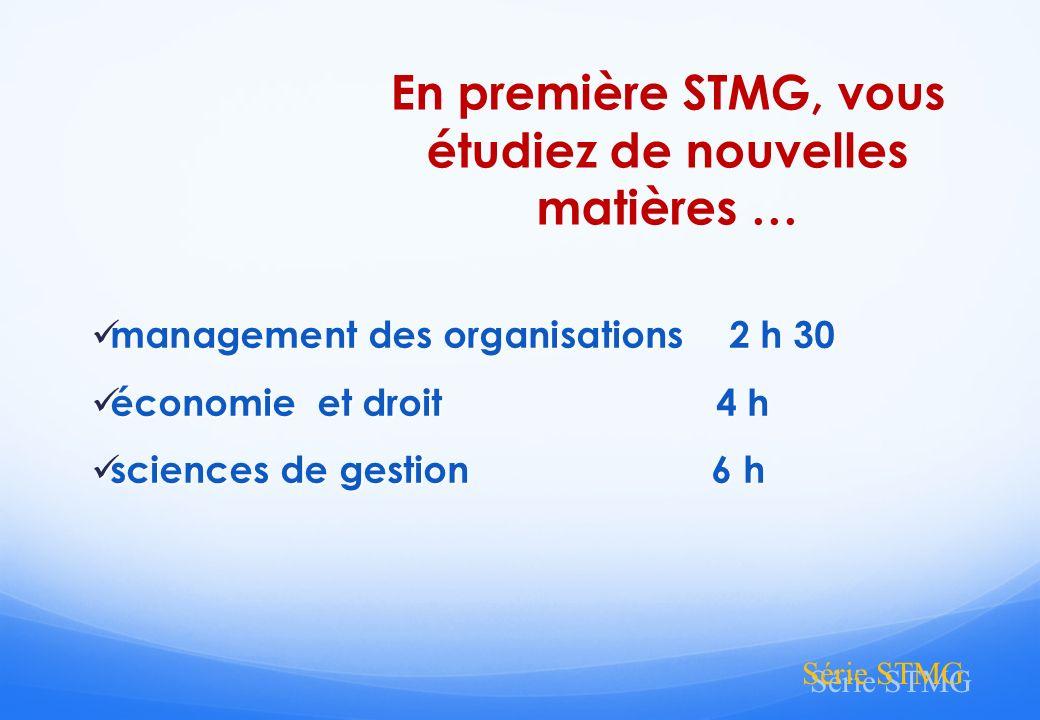 En première STMG, vous étudiez de nouvelles matières …