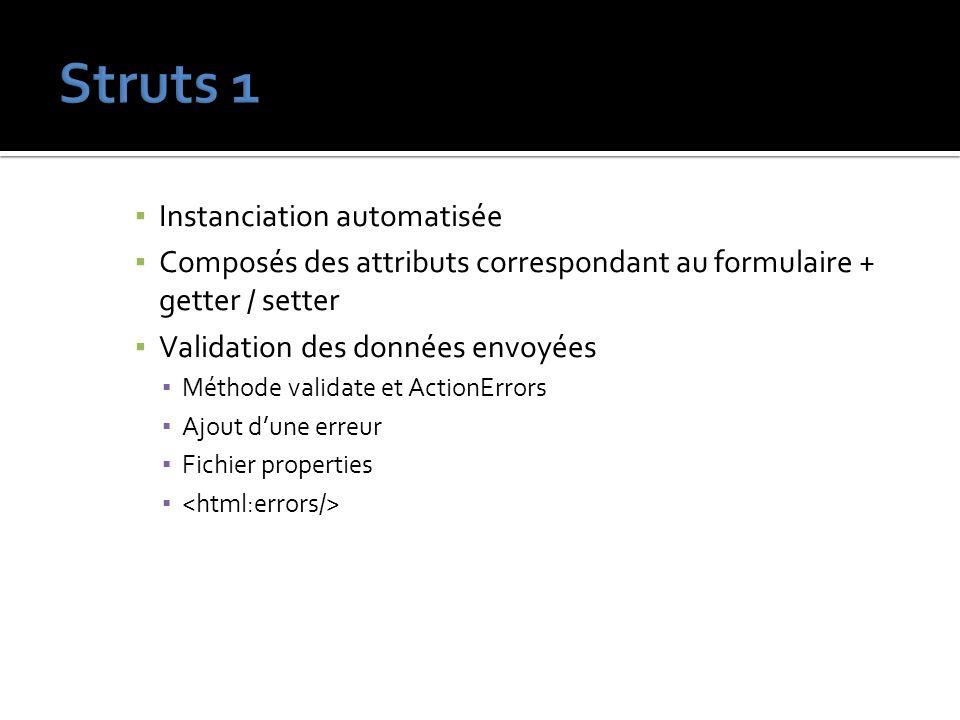 Struts 1 Instanciation automatisée