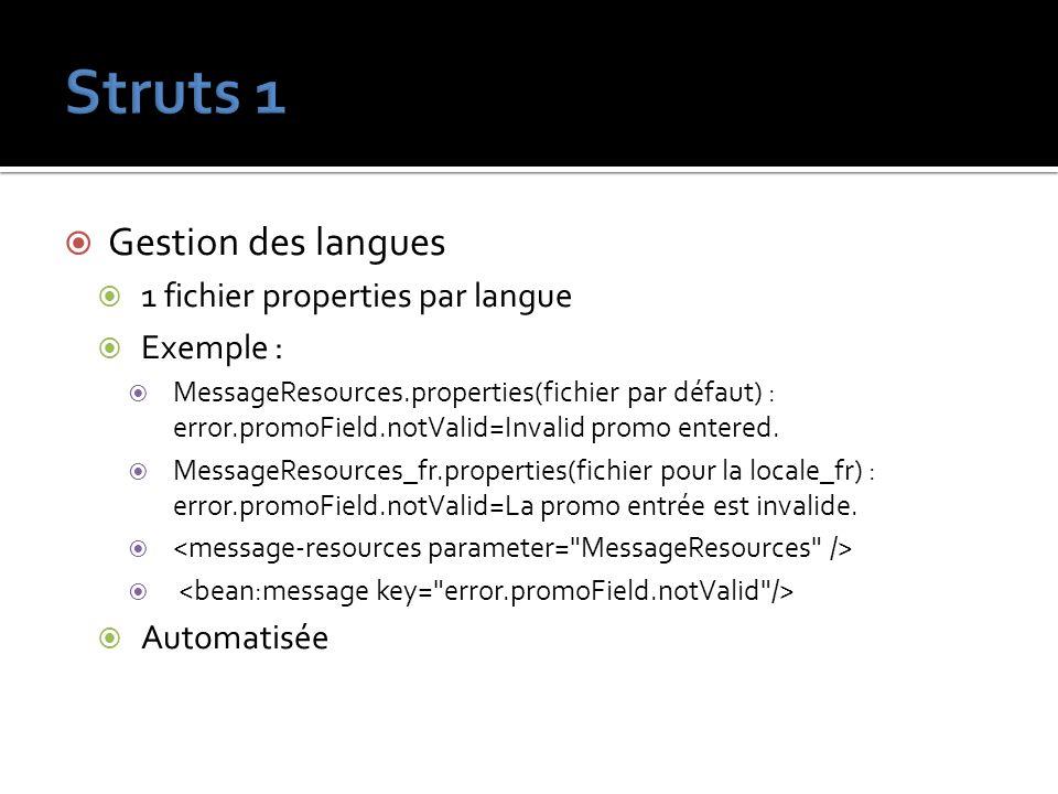 Struts 1 Gestion des langues 1 fichier properties par langue Exemple :