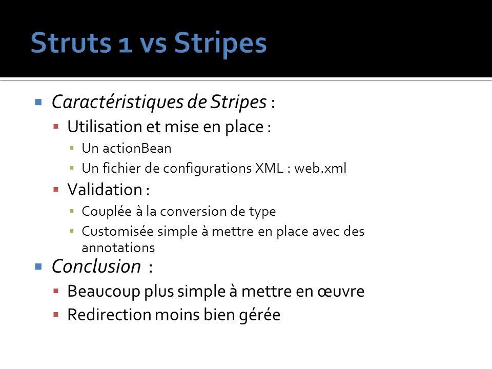 Struts 1 vs Stripes Caractéristiques de Stripes : Conclusion :
