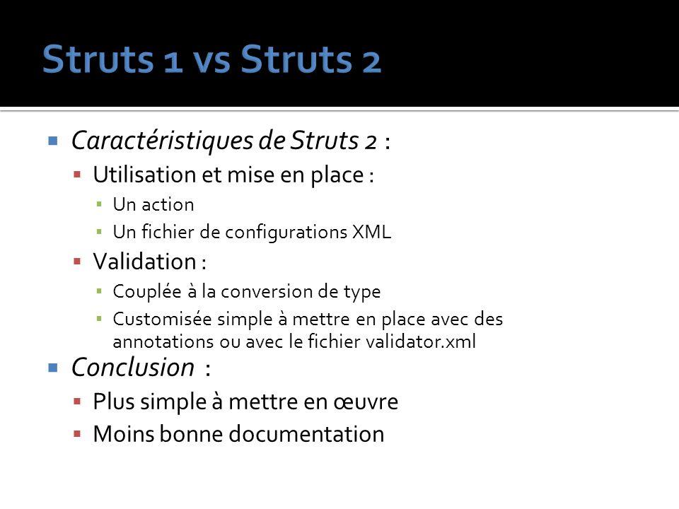 Struts 1 vs Struts 2 Caractéristiques de Struts 2 : Conclusion :