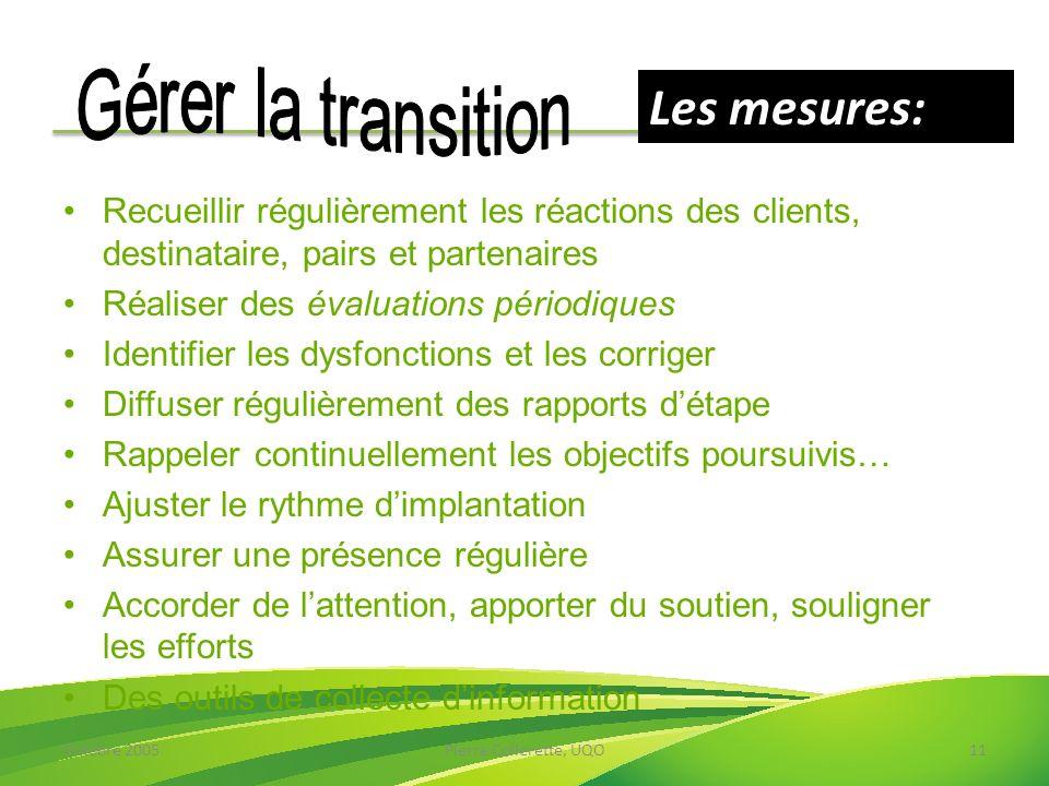 Les mesures: Gérer la transition