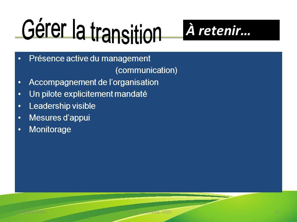 À retenir… Gérer la transition Présence active du management