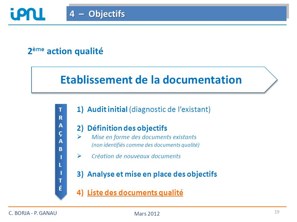 Etablissement de la documentation