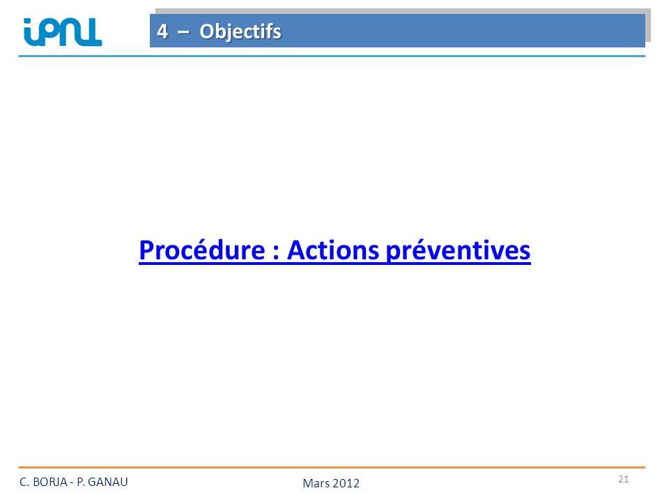 Procédure : Actions préventives