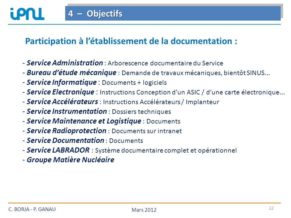 Participation à l'établissement de la documentation :