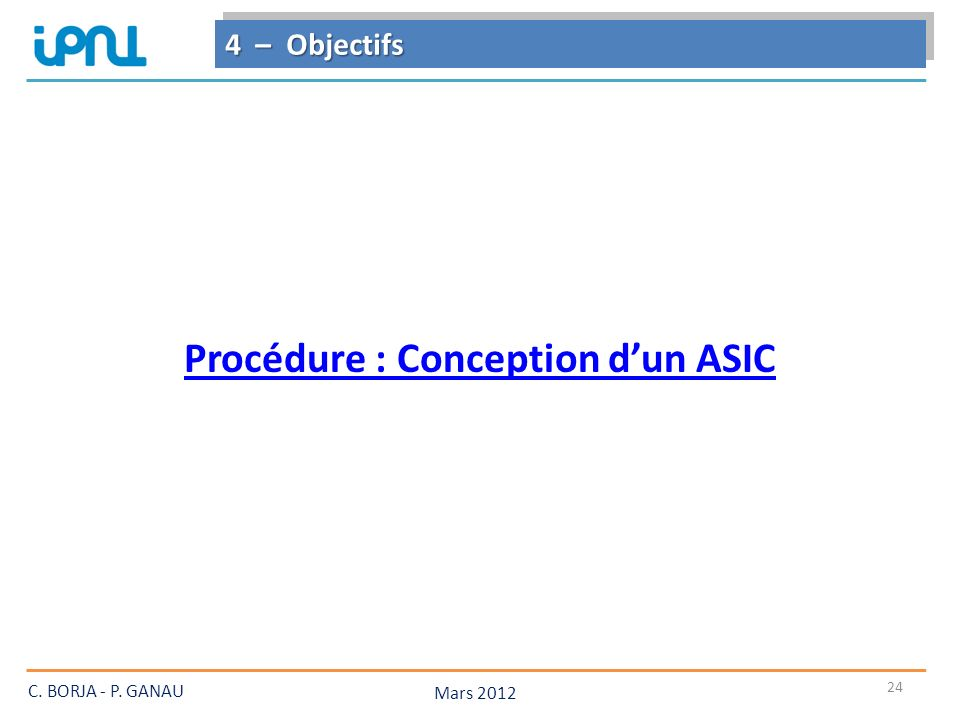 Procédure : Conception d'un ASIC
