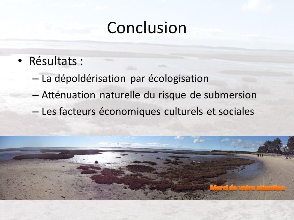 Conclusion Résultats : La dépoldérisation par écologisation
