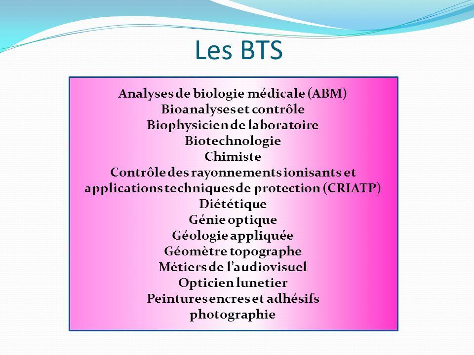 Les BTS Analyses de biologie médicale (ABM) Bioanalyses et contrôle