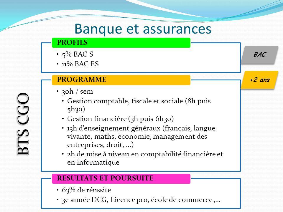 Banque et assurances BTS CGO 5% BAC S 11% BAC ES PROFILS 30h / sem
