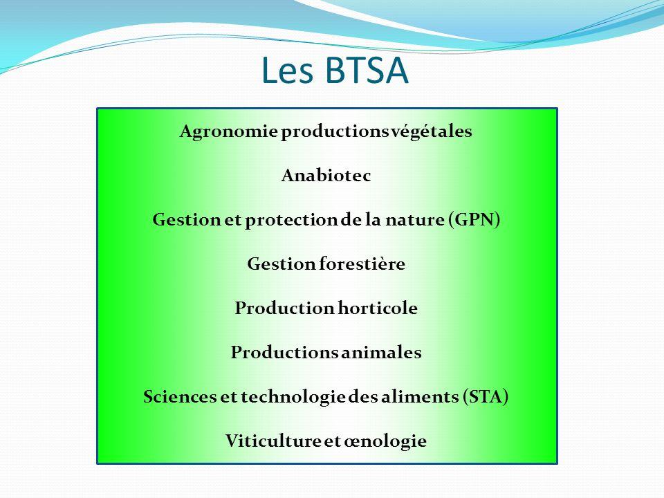 Les BTSA Agronomie productions végétales Anabiotec