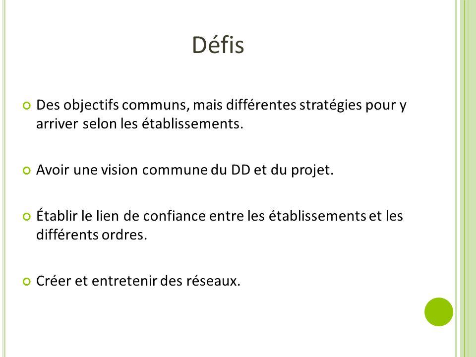 Défis Des objectifs communs, mais différentes stratégies pour y arriver selon les établissements. Avoir une vision commune du DD et du projet.