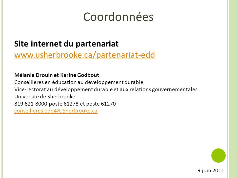 Coordonnées Site internet du partenariat
