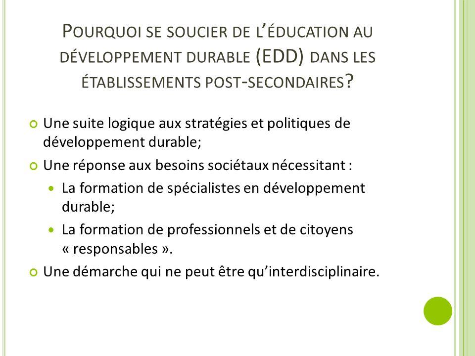 Pourquoi se soucier de l'éducation au développement durable (EDD) dans les établissements post-secondaires