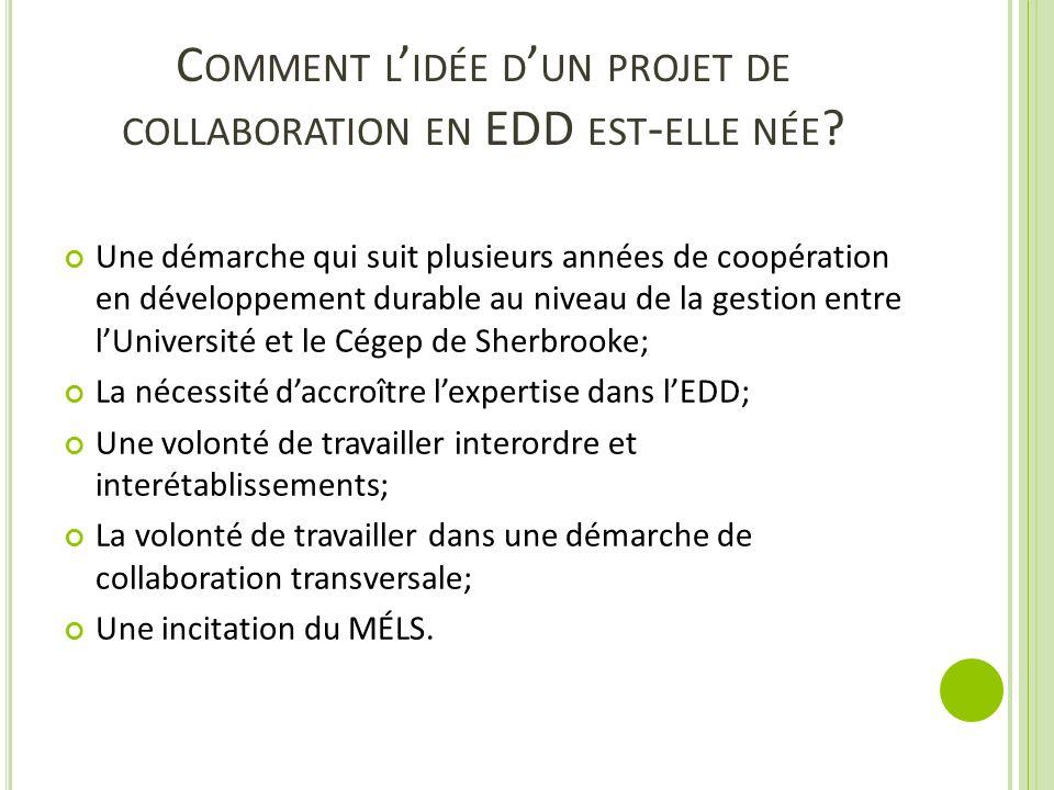 Comment l'idée d'un projet de collaboration en EDD est-elle née