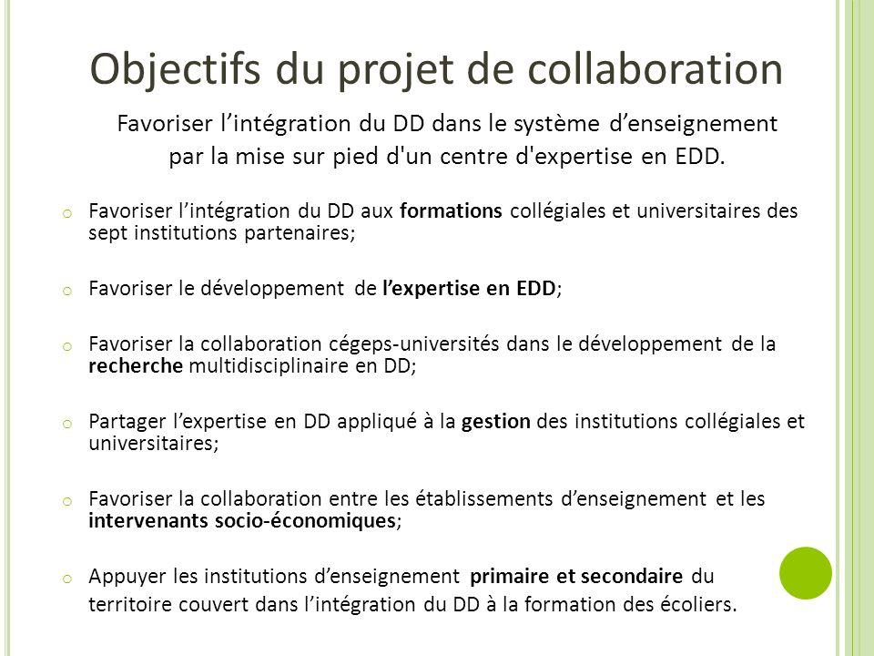 Objectifs du projet de collaboration