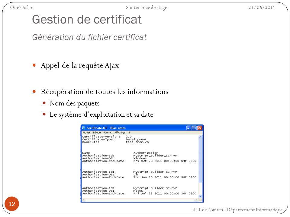 Gestion de certificat Génération du fichier certificat