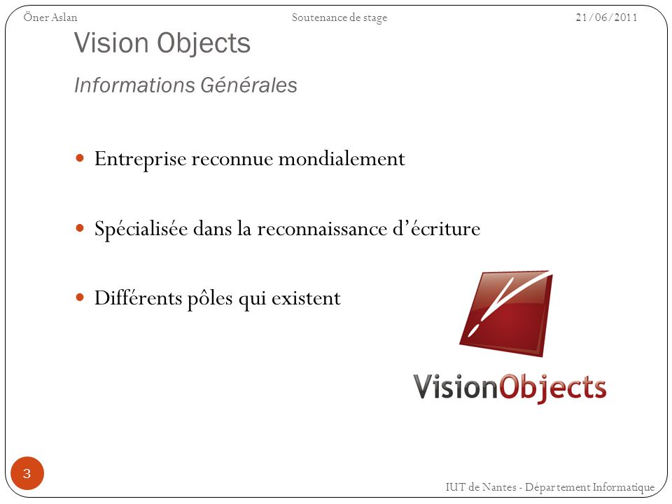 Vision Objects Informations Générales